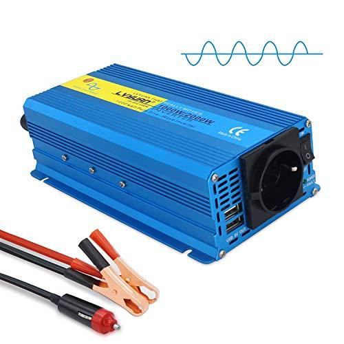 Yinleader Wechselrichter 1000W 12V 230V Reiner Sinus Spannungswandler Power Inverter mit 1 Steckdose 2 USB Anschlüsse /2000W Stoßleistung