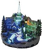 insatech LED Dorfplatz mit Kirche und drehendem Weihnachtsbaum durch Fiberoptik...