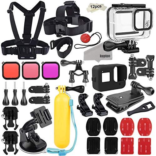 Kupton Zubehörset für GoPro Hero 8 Aktion Kamera-Zubehörpaket, wasserdichtes Gehäuse + Silikonhülle + Filter + Kopfbrustgurt + Saugnapfhalterung...