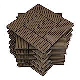 WOLTU 11 stuks WPC terrastegels houtlook grijs, tegel ...