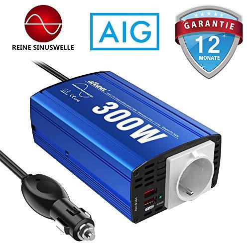 GIANDEL Reiner Sinus Wechselrichter 300W Kfz-Adapter Spannungswandler 12V DC 230V AC mit 4.8A Dual USB und Steckdose Für Tablets Laptops Smartphones...