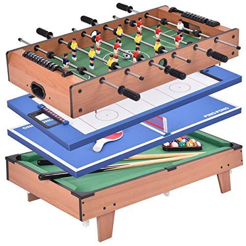 COSTWAY 4 in 1 Multifunktionsspieltisch Multispieltisch Multigame Tischfußball Billard Tischtennis Hockey