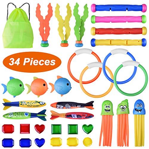 BONROB Tauchspielzeug Tauchen Spielzeug, 34 Stücke Schwimmbad Spielzeug...