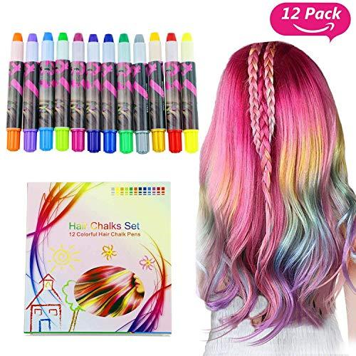Buluri Haarkreide Non-Toxic 12 Farbe Natürliche Haare Kreide Stifte Temporäre Haarfarbe für Mädchen, Perfektes Geschenk für Karneval, Weihnachten...