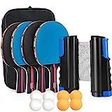 Tencoz table tennis set, ping pong set, table tennis set, table tennis bat set with table tennis net, ...