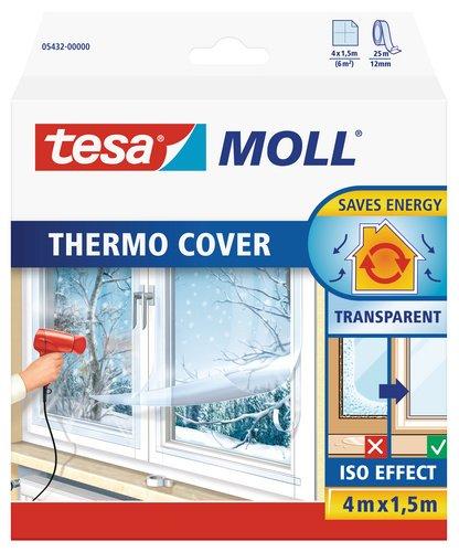 tesamoll Thermo Cover Fenster-Isolierfolie - Transparente Isolierfolie zur Wärmedämmung an Fenstern - Inklusive praktischer Klebelösung - 4 m x 1,5...