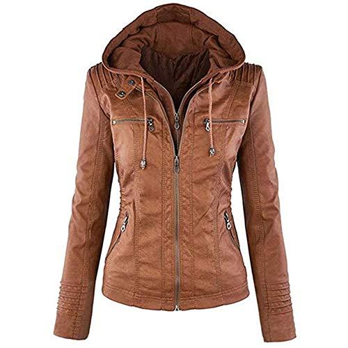 Newbestyle Jacke Damen Lederjacke Frauen mit Zip V Ausschnitt Kunstleder Bikerjacke Jacket Casual Übergangsjacke (Normale EU-Größe), Braun, XS/36