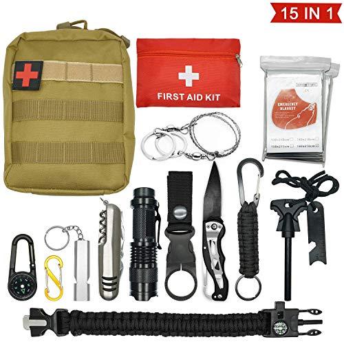 Abida Survival Kit, 15 in 1 Outdoor Emergency Survival Kit mit Survival-Decke, Klappmesser, Feuerstarter, Tactical Pen, Taktische Taschenlampe zum...