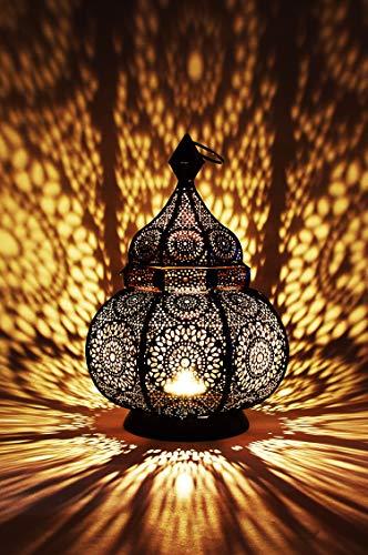 Orientalische Laterne aus Metall Ziva Schwarz 30cm   orientalisches Marokkanisches Windlicht Gartenwindlicht   Marokkanische Metalllaterne für...