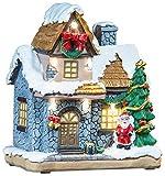 infactory Weihnachtsdorf Deko: Deko-Weihnachtshaus mit Santa Claus,...