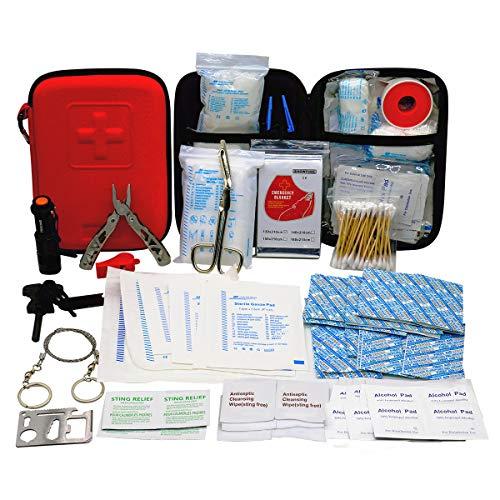 TRSCIND Erste-Hilfe-Set, Survival Kit mit Taschenlampe Feuerstahl und...