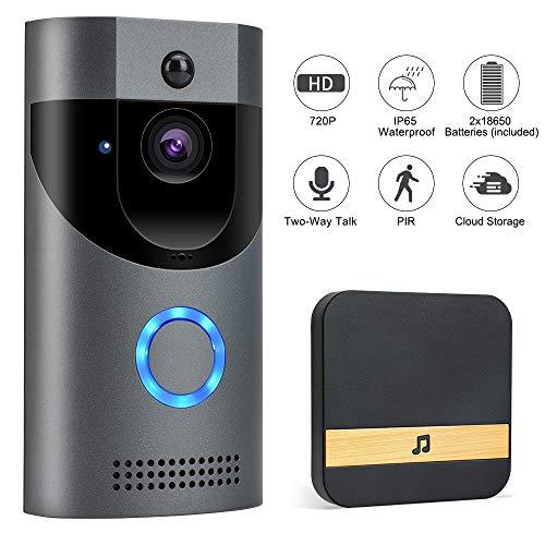 Video Türklingel Mit Kamera, Wifi Gegensprechfunktion, IP65 Wasserdicht, PIR Bewegungsmelder, Monitor Nachtsicht,166º Grad Weitwinkel Camera,...