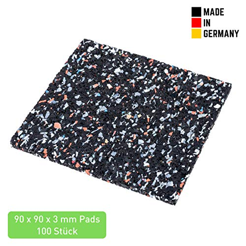 Terrassenpads 90 x 90 x 3mm (100 STK.) - Terrassen Pads aus Gummi - Unterlegpads...