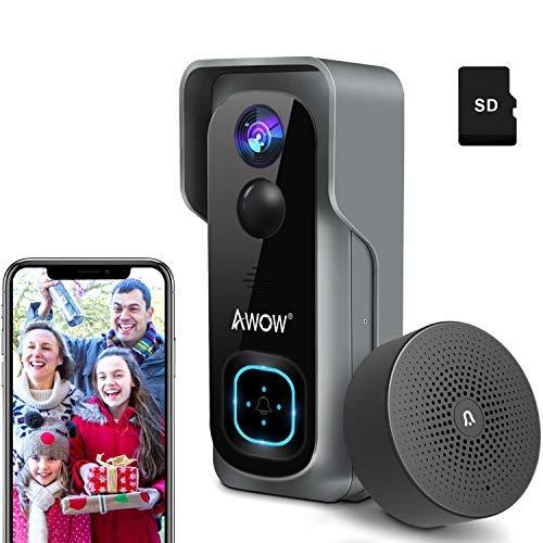Video Türklingel mit Kamera, AWOW 1080P HD Video Doorbell mit 16GB Speicherkarte, Gegensprechfunktion, 1 Innen-Gong, 2 Wiederaufladbare Batterie,...