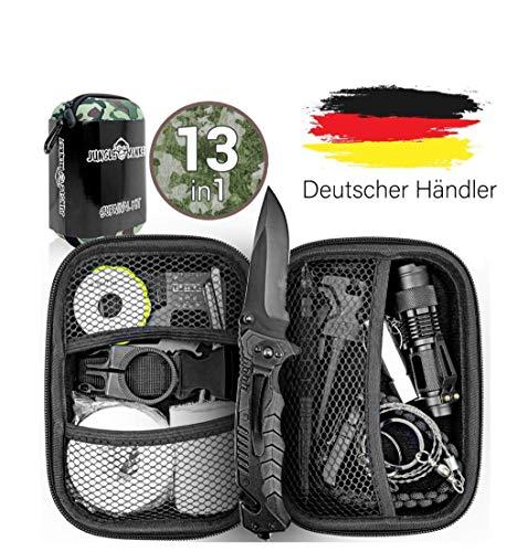 Jungle Monkey Premium Survival Kit [13er Set] - [NEU 2020] - Mit hochwertigem Messer - Taschenlampe mit Fokus Funktion - Wanderzubehör mit...