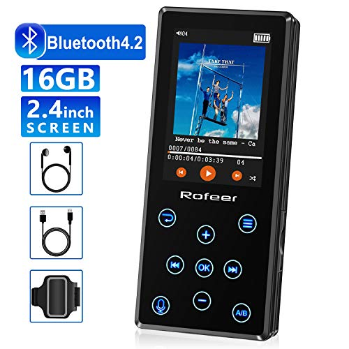 MP3 Player, 16GB MP3 Player mit Bluetooth 4.2 HiFi verlustfreiem Klang Digitaler Download Musik Radio Sprachrekorder E-Book 2.4in LCD, Unterstützung...