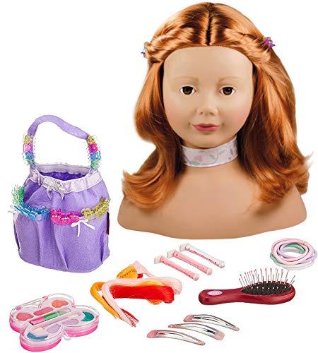 Götz 1192054 Haarwerk mit roten Haaren und braunen Augen - 28 cm hoher Frisierkopf- und Schminkkopf in 58-teiligen Set - geeignet für Mädchen ab 3...