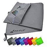 Fit-Flip treningshåndklesett med glidelåsrom + magnetklips + ekstra ...