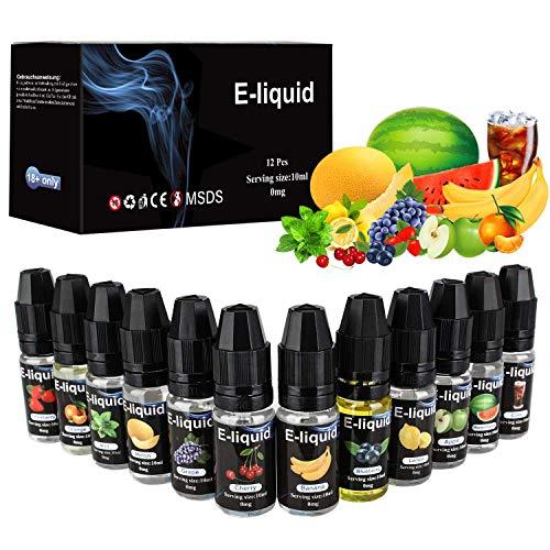 E Liquids 12 X 10ml, E-liquids ohne Nikotin, 12 Aromen E-Zigaretten Liquid Set 50PG/50VG Refill Electronic Cigarette, für E Zigaretten/Elektrische...