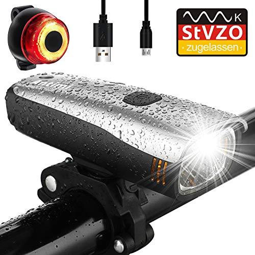 Antimi Fahrradlicht Led Set, LED Fahrradbeleuchtung mit 2 Licht-Modi, StVZO-Zulassung, Frontlicht und Rücklicht/Rotlicht, IPX5 Regen- und stoßfest...