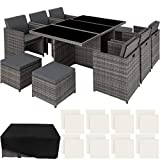 TecTake 403086 aluminum poly rattan seating group 6 + 1 + 4, foldable, for up to 10 people, incl. Protective cover and stainless steel screws, gray