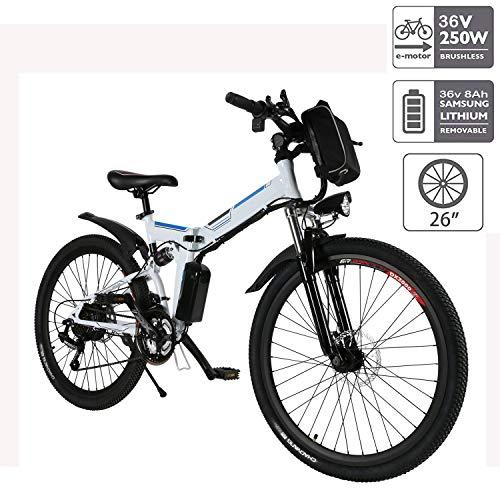 Hiriyt Faltbares E-Bike,36V 250W Elektrofahrräder, 8A Lithium Batterie Mountainbike,26 Zoll Große Kapazität Pedelec mit Lithium-Akku und Ladegerät...
