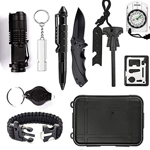 DHOUTDOORS 12 in 1 Notfall Survival Kit Selbsthilfe Außen Survival Kit Box Notfall-Überlebens-Kit Multi-Tool Survival-Kits Für Camping, Bushcraft,...