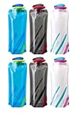 Saiway 700ML Foldable Water Bottles Set of 6 Water Bottle Bottle Pouch