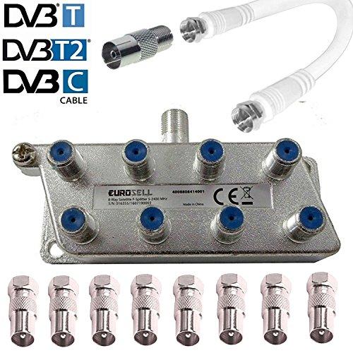 Breitband-Kabel-Verteiler 3-fach TV-Verteiler Weiche Dreifachverteiler f/ür DVB-T und Kabelfernsehen