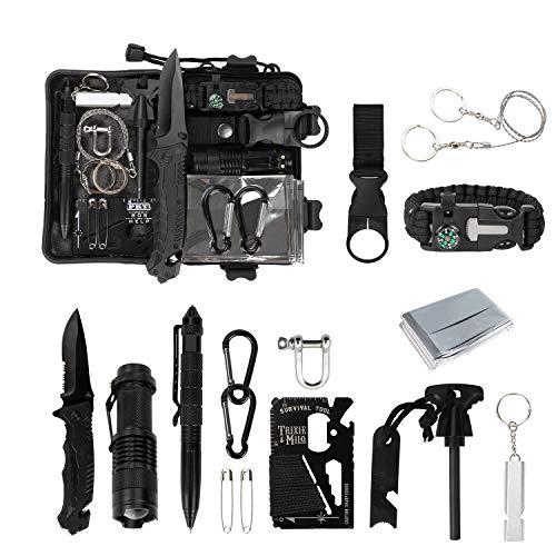 Homealexa Survival Kit 15 in 1, Außen Notfall Survival Kit, Rettungshilfe Selbsthilfe Survival Kit Set für Camping, Bushcraft, Wandern, Jagd und Ihr...