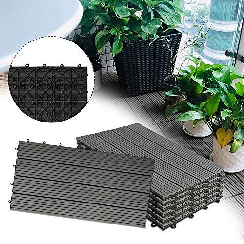 Froadp 12 Stück WPC Kunststoff Fliesen Wasserfilterbar Terrassen- & Balkonfliesen Zusammenbaubar Holz Optik Garten Klickfliese Gesamt ca....