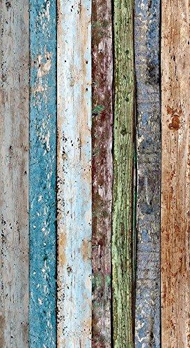 Livingwalls selbstklebendes Panel Pop up Panel Vintage Holzoptik fotorealistisch 2,50 m x 0,35 m bunt Made in Germany 942191 94219-1