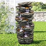 WATURE 4-trinns Rockery Outdoor Waterfall Garden Fountain - 101cm Outdoor ...