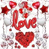 ASANMU Valentinstag Dekoration Set, 1000 Rosenblätter Rosen+Rot Love...