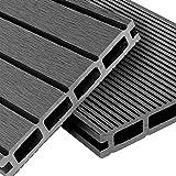 WPC Terrassendielen Basic Line - Komplett-Set Hellgrau | 12m² (4m x 3m) Holz-Brett Dielen | Boden-Fliesen + Unterkonstruktion & Clips | Balkon...