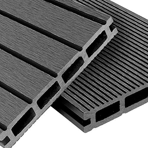 WPC Terrassendielen Basic Line - Komplett-Set Hellgrau | 12m² (4m x 3m)...