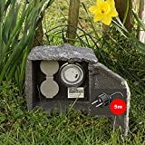 TRUTZHOLM outdoor socket stone 5m cable length socket 2-way with timer garden socket ...