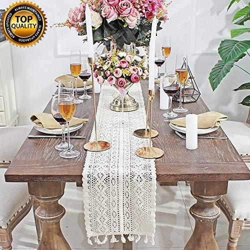 DÉCOCO 9,5'x 71' weiße Makramee Tischläufer rechteckige Häkelspitze elegante hohle Mesh Tischdecke für rustikale Boho Hochzeit Dekor Braut & Baby...