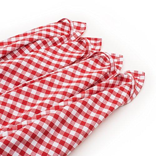 ZOLLNER set of 4 dishtowels 50x70 cm rose red stripes approx cotton