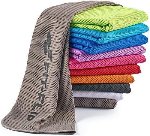 Fit-Flip Kühlendes Handtuch 100x30cm, Mikrofaser Sporthandtuch kühlend, Kühltuch, Cooling Towel, Mikrofaser Handtuch| Farbe: grau, Größe:...
