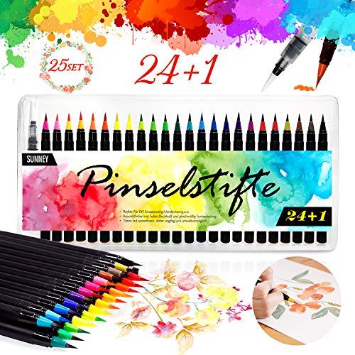 Pinselstifte Set, 24 Aquarell Pinselstifte + 1 Wassertankpinsel, Brush Pen mit...