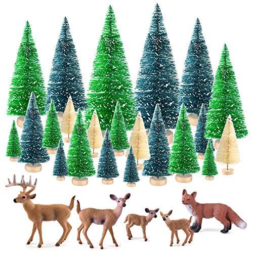 KUUQA 25 Stücke Mini Sisal Bäume Flasche Pinsel Bäume Schnee Frost Bäume mit Miniaturfiguren Wald Tiere Hirsch Fuchs Tischplatte Handwerk DIY Room...