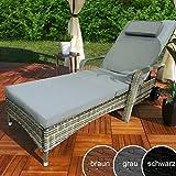 Swing & Harmonie Rattan Garden Lounger Relax Polyrattan Garden Lounger Rattan Furniture Deck Chair Sun Lounger (Gray)