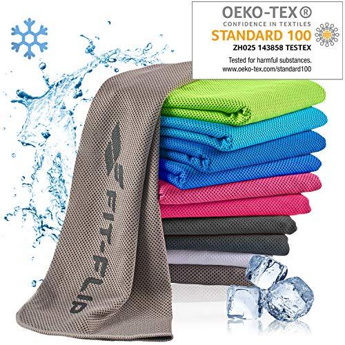Fit-Flip Kühlendes Handtuch 100x30cm, Mikrofaser Sporthandtuch kühlend, Kühltuch, Cooling Towel, Mikrofaser Handtuch – Farbe: grau, Größe:...