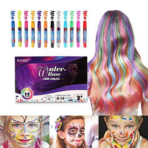 Haarkreide, Innoo Tech Kinderschminke Set, Haartönung & Gesichtsbemalung, 12 Farben Tragbare Kreidestifte, temporäre Haarfarbe, Geeignet für Alle...