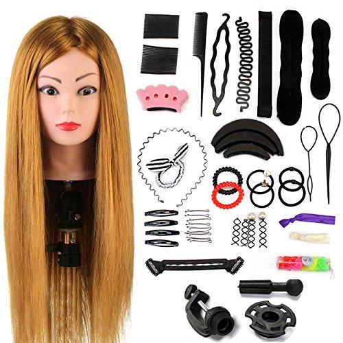 Neverland Beauty 24' Übungskopf Frisierkopf Friseur 60% Echthaar Haar...