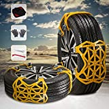 Kacsoo 6 pieces snow chains quick assembly car snow chains universal anti-slip chains with gloves ...