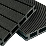 WPC decking Basic Line - complete set dark gray | 12m² (4m x 3m) wooden plank floorboards | Floor tiles + substructure & clips | Balcony...