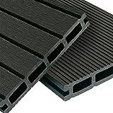 WPC Terrassendielen Basic Line - Komplett-Set Dunkelgrau | 12m² (4m x 3m) Holz-Brett Dielen | Boden-Fliesen + Unterkonstruktion & Clips | Balkon...