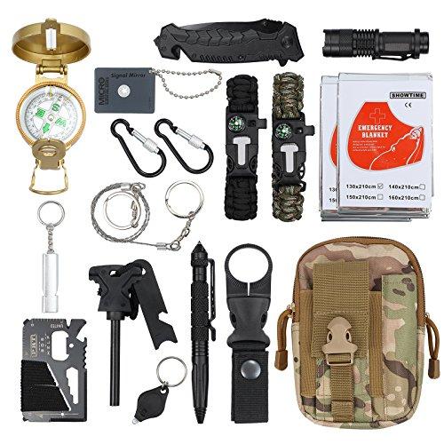 18 in 1 Survival Kit Survival Bag Multifunktionale Werkzeugtasche mit Notfalldecke Notfall Überlebensausrüstung für Reisen Wandern Camping im...
